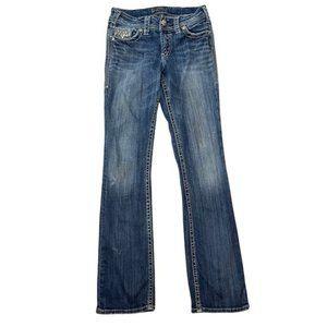 SILVER Women's Y2K Distressed Bling Detail 'Suki Flap 17'' ' Jeans Size W27/L33